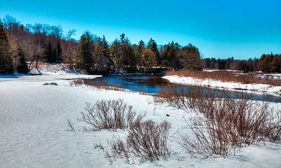 Snow Scenes Photograph - The Snowy Moose River - Old Forge New York by David Patterson