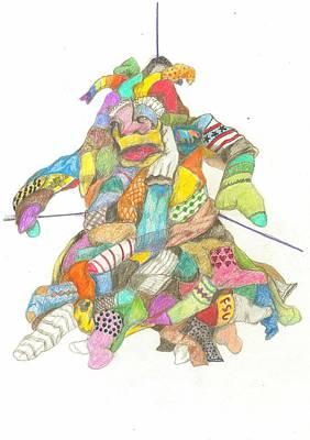 Drawing - The Sockasaurus by Lew Davis