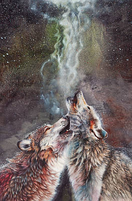 Wolf Painting - The Song Remains The Same by Peter Williams
