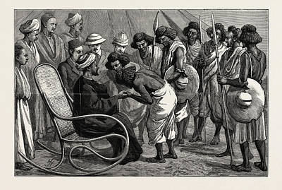 Friendly Drawing - The  Soudan Sudan Friendly Natives Doing Homage by English School