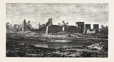 Sacred Art Drawing - The South Pylon And Sacred Lake Of Karnak by Litz Collection