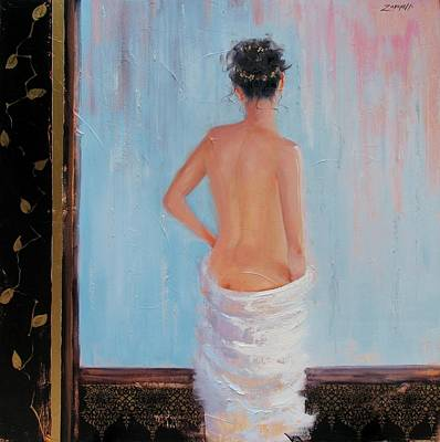 Woman In Shower Painting - The Spa Two by Laura Lee Zanghetti