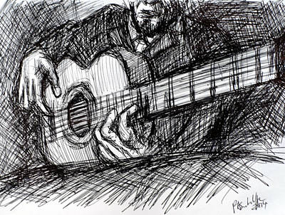 Musicians Drawings Rights Managed Images - The Spanish Guitarist Royalty-Free Image by Paul Sutcliffe