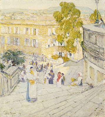 Building Exterior Painting - The Spanish Steps Of Rome by Childe Hassam