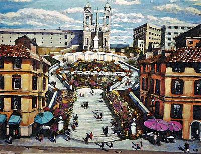 Art Print featuring the painting The Spanish Steps by Rita Brown