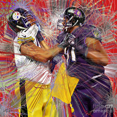 Baltimore Ravens Wall Art - Painting - The Spectacle - Baltimore At Pittsburgh  by Reggie Duffie