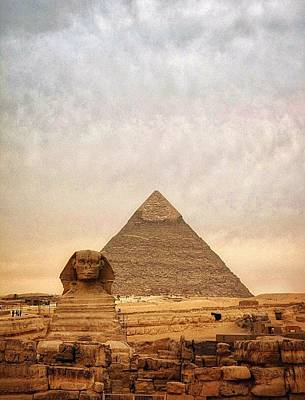 The Sphinx And Pyramid Of Chephren Art Print by Marie-louise Mandl / Eyeem