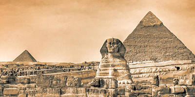 The Sphinx And Pyramids - Vintage Egypt Art Print by Mark E Tisdale