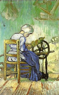 Netherlands Painting - The Spinner - After Millet by Vincent van Gogh