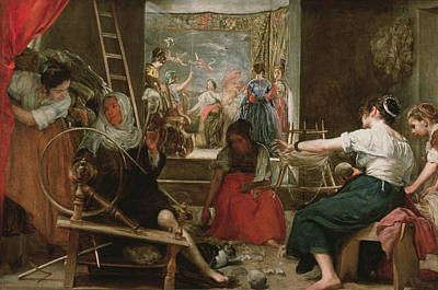 Spinning Wheel Photograph - The Spinners, Or The Fable Of Arachne, 1657 Oil On Canvas See 91618 For Fully Restored Version by Diego Rodriguez de Silva y Velazquez