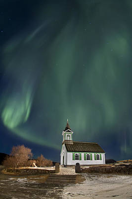 Winter Night Photograph - The Spirit Of Iceland by Evelina Kremsdorf