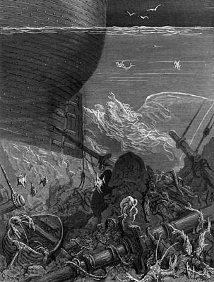 Lyrical Drawing - The Spirit That Had Followed The Ship From The Antartic by Gustave Dore