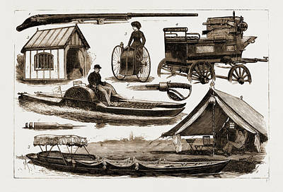 Tricycle Drawing - The Sportsmans Exhibition At The Agricultural Hall by Litz Collection