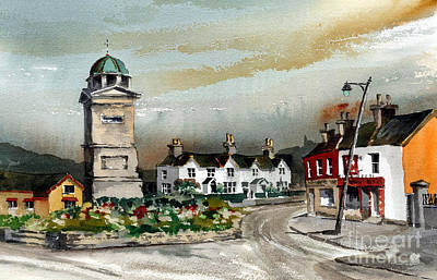 Painting - The Square In Enniskerry Wicklow by Val Byrne