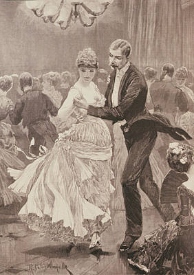 Ballroom Photograph - The Squires Ball, From The Illustrated London News, 3rd June 1886 Engraving by Richard Caton II Woodville