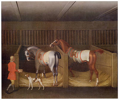 The Stables And Two Famous Running Horses Art Print