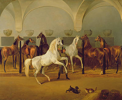 Animal Portraiture Painting - The Stables At Babolna by Otto Stotz