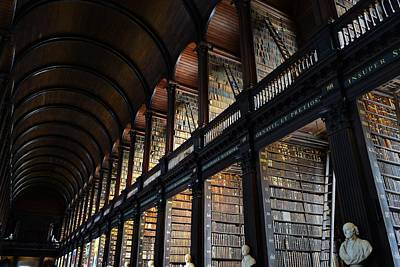 Photograph - The Stacks And Ceiling Trinity College Library Long Room by Nadalyn Larsen