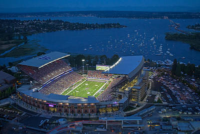 Harvard Photograph - Husky Stadium And The Lake by Max Waugh