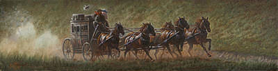 Coach Horses Painting - The Stage Coach by Gregory Perillo