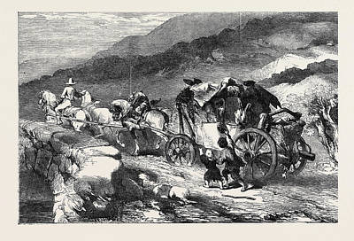 Stagecoach Drawing - The Stagecoach Of The Last Century by Gilbert, Sir John (1817-97), English