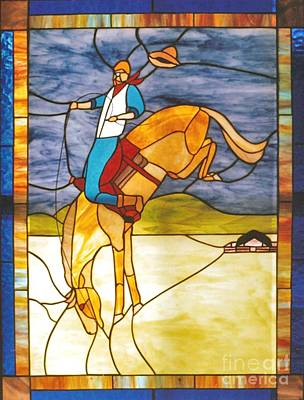 The Stained Glass Cowboy Riding Out The Bucks Original by Patricia Keller