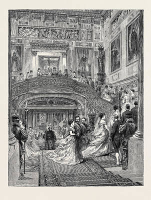 Buckingham Palace Drawing - The Staircase At Buckingham Palace, London by English School