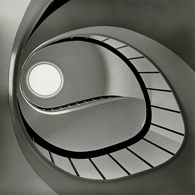 San Francisco Bay Photograph - The Staircase In Mr. And Mrs. Albert by Fred Lyon
