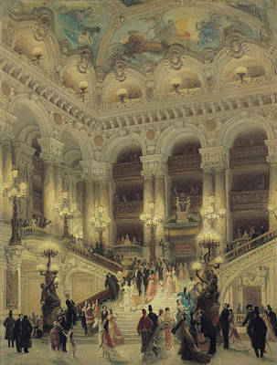 Evening Dress Painting - The Staircase Of The Opera by Louis Beroud