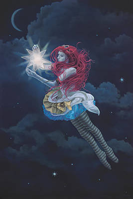 Floating Girl Painting - The Star Hanger by Paul Bond