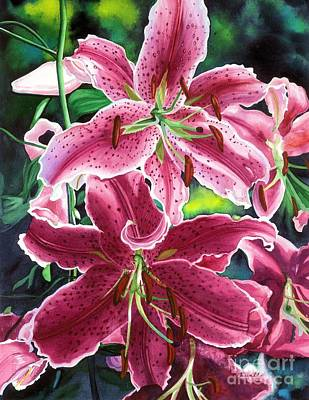 Lilies Wall Art - Painting - The Stargazers by Barbara Jewell