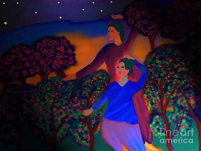 Art Print featuring the digital art The Starlight Night by Latha Gokuldas Panicker