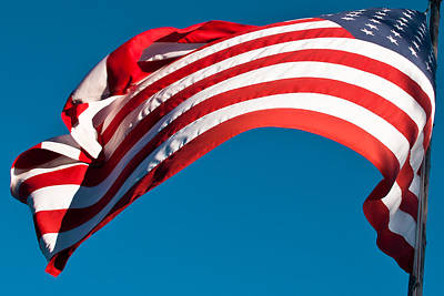 American Flag Photograph - The Stars And Stripes Waving by David Patterson