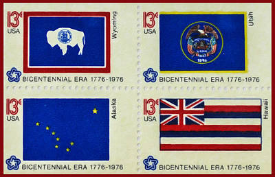 1976 Painting - The State Flags Of The Fifty States Series by Lanjee Chee