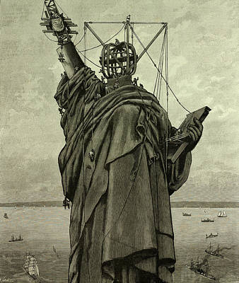 Statue Of Liberty Drawing - The Statue Of Liberty In New York, The End by Litz Collection