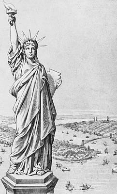 New York Harbor Drawing - The Statue Of Liberty New York by American School