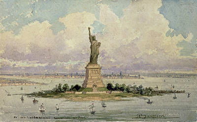 Landmarks Drawing - The Statue Of Liberty  by Frederic Auguste Bartholdi