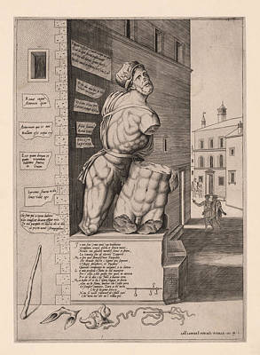 The Statue Pasquino, Standing On A Pedestal In The Piazza Print by Antonio Lafreri