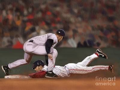Derek Jeter Digital Art - The Steal by Jeremy Nash