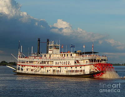 Photograph - New Orleans Steamboat Natchez Heads Downriver On The Mississippi River In New Orleans Louisiana by Michael Hoard