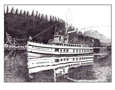 Lighthouse Drawing - The Steamer Virginia V by Jack Pumphrey