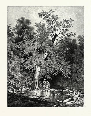 The Stepping-stones Art Print by Bunner, Andrew Fisher (1841-1897), American