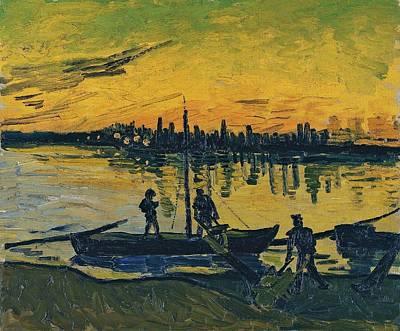 The Stevedores In Arles  Art Print by Vincent van Gogh