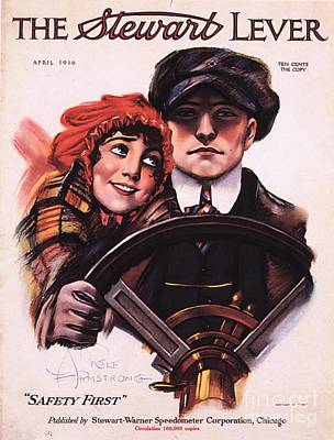 Nineteen-tens Drawing - The Stewart Lever 1910s Usa Driving by The Advertising Archives
