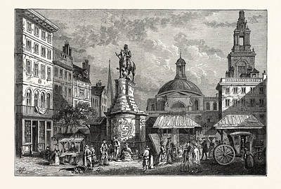 The Stocks Market Site Of The Mansion House London Art Print by English School