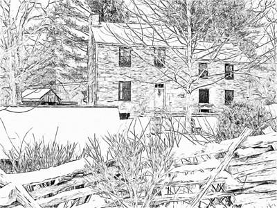 Digital Art - Stone House At The Oliver Miller Homestead In Winter - 2 by Digital Photographic Arts