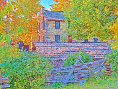 Digital Art - The Stone House At The Oliver Miller Homestead / Late Afternoon  by Digital Photographic Arts