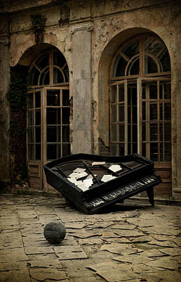 The Stone Sphere And Broken Grand Piano Art Print by Jaroslaw Blaminsky