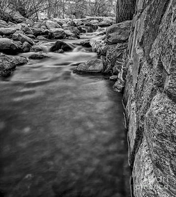 Kids Alphabet - The Stone Wall Next to the River BW by Mitch Johanson