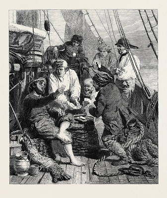Storm Drawing - The Storm At Sea By J by English School